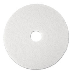 "3M Super Polish Floor Pad 4100, 17"" Diameter, White, 5/Carton"
