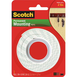 "3M Mounting Tape, Holds 2 Lbs, 1""x50"", White"