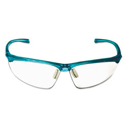 3M Refine 201 Safety Glasses, Half-frame, Clear AntiFog Lens, Teal Frame