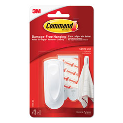 3M Command Spring Clip With Adhesive Strips, White