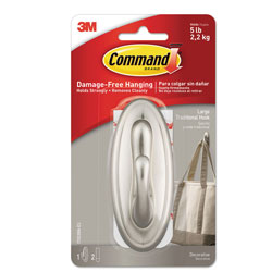 Command® Decorative Hooks, Traditional, Large, 1 Hook & 2 Strips/Pack