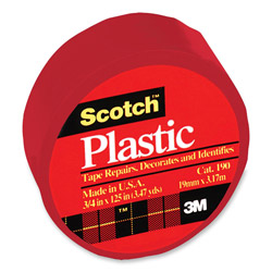 "3M Colored Plastic Tape, Moisture Resistant, 3/4""x125"", Red"