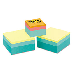 Post-it® Cubes, One 360-Sheet 2 x 2, Two 400-Sheet 3 x 3, Pastel
