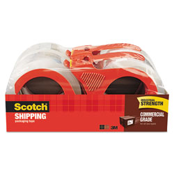 "Scotch 3750 Commercial Grade Packaging Tape w/Dispenser, 1.88"" x 54.6yds, Clear, 4/Pack"