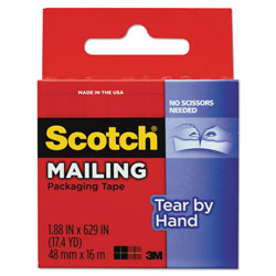"Scotch Tear-By-Hand Packaging Tape, 1.88"" x 17.5yds, 1 1/2"" Core, Clear"