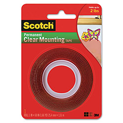 "Scotch Double-Sided Mounting Tape, Industrial Strength, 1"" x 60"", Clear/Red Liner"