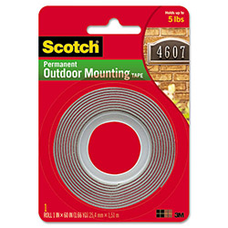 "Scotch Exterior Weather-Resistant Double-Sided Tape, 1"" x 60"", Gray w/Red Liner"