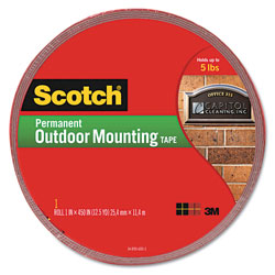 "Scotch Exterior Weather-Resistant Double-Sided Tape, 1"" x 450"", Gray w/Red Liner"