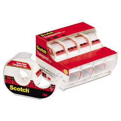 "Scotch Transparent Tape & Handheld Dispenser, 3/4"" x 850"", Clear, 4/Pack"