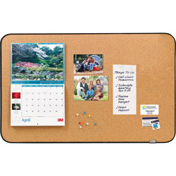 Post-it® Sticky Cork Self-Stick Bulletin Board, 36 x 22, Natural, Black Frame
