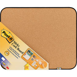 Post-it® Sticky Self-Stick Cork Board, 22 x 18, Natural, Black Frame