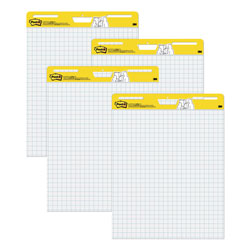 Post-it® Self-Stick Easel Pads, Quad Rule, 25 x 30, White, 4 30-Sheet Pads/Carton