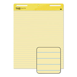 Post-it® Self Stick Easel Pads, Ruled, 25 x 30, Yellow, 2 30 Sheet Pads/Carton