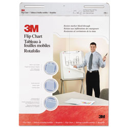 3M Professional Flip Chart Pad, Unruled, 25 x 30, White, 40 Sheets/Pad, 2/Carton