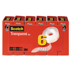 "Scotch Transparent Tape, 3/4"" x 1296"", 1"" Core, Clear, 6/Pack"