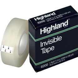 "3M Highland Invisible Tape, 1"" Core; 3/4""x1296"", Clear"