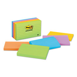 Post-it® Ultra Color Ruled Note Pads, 3 x 5 Size, 5 Pads/Pack