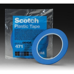 "Scotch Plastic Tape 471, Blue, 1/8"" x 36 yd."
