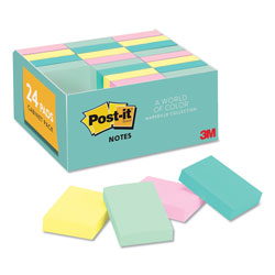 Post-it® Pastel Notes Value Pack, 1 1/2 x 2, Assorted, 24 100-Sheet Pads/Pack