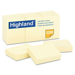 Highland Self-Stick Pads, 1-1/2 x 2, Yellow, 100 Sheets/Pad, 12 Pads/Pack