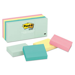 Post-it® Original Pads in Marseille Colors, 1 1/2 x 2, 100-Sheet, 12/Pack