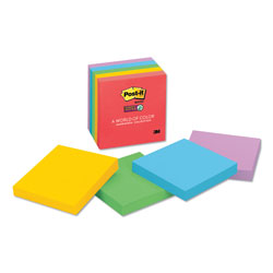 Post-it® Super Sticky Note Pads, 3x3, Assorted Colors, Five 90 Sheet Pads/Pack
