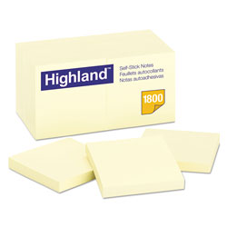 Highland Self-Stick Notes, 3 x 3, Yellow, 18 100-Sheet Pads/Pack