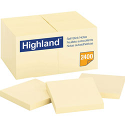 "3M Highland Self Stick Removable Notes, 3"" x 3"", 24/ Pack, Yellow"