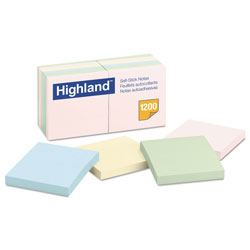 Highland Sticky Note Pads, 3 x 3, Assorted Pastel, 100 Sheets