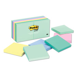 Post-it® Original Pads in Marseille Colors, 3 x 3, 100-Sheet, 12/Pack