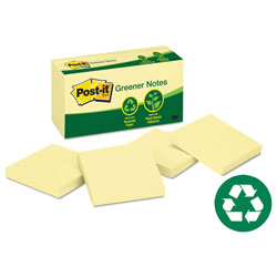 Post-it® Recycled Note Pads, 3 x 3, Yellow, 100 Sheets/Pad, 12/Pack