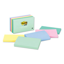 Post-it® Original Pads in Pastel Colors, 3 x 5, Five Pastel Colors, 5 100-Sheet Pads/Pack