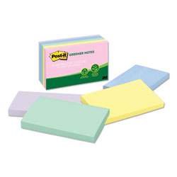 Post-it® Recycled Assorted Pastel Color Plain Note Pads, 3 x 5, 5 Pads/Pack