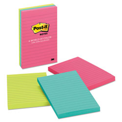 Post-it® Original Pads in Cape Town Colors, Lined, 4 x 6, 100-Sheet, 3/Pack