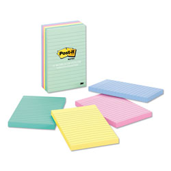 Post-it® Original Pads in Pastel Colors, 4 x 6, Lined, Five Colors, 5 100-Sheet Pads/Pack