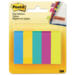 Post-it® Page Markers, Five Assorted Ultra Colors, 5 Pads of 100 Strips/Pack