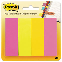 Post-it® Page Flag Markers, Assorted Brights, 50 Strips/Pad, 4 Pads/Pack