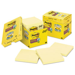 Post-it® Super Sticky Notes, 4 x 4, Lined, Canary Yellow, 12 90-Sheet Pads/Pack