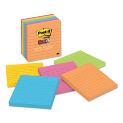 Post-it® Pads in Rio de Janeiro Colors, Lined, 4 x 4, 90-Sheet, 6/Pack