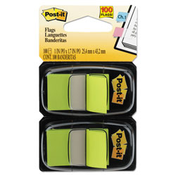 Post-it® Standard Page Flags in Dispenser, Bright Green, 100 Flags/Dispenser