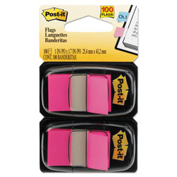 Post-it® Standard Page Flags in Dispenser, Bright Pink, 100 Flags/Dispenser