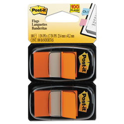 Post-it® Standard Page Flags in Dispenser, Orange, 100 Flags/Dispenser
