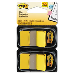 Post-it® Standard Page Flags in Dispenser, Yellow, 100 Flags/Dispenser
