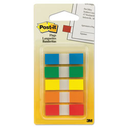 Post-it® Page Flags in Portable Dispenser, 5 Standard Colors, 20 Flags/Color