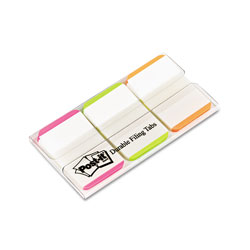 Post-it® Durable File Tabs, 1 x 1 1/2, Striped, Assorted Fluorescent Colors, 66/Pack