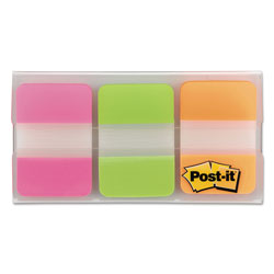 Post-it® Durable File Tabs, 1 x 1 1/2, Assorted Fluorescent Colors, 66/Pack