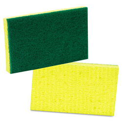 3M Medium-Duty Scrubbing Sponge, 3 1/2 x 6 1/4, Yellow/Green, 20/Carton