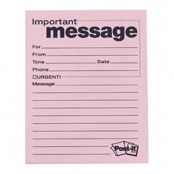 Post-it® Self-Stick Message Pads, 3-7/8x4-7/8, 50 Sheets/Pad, 12 Pink Pads/Pack