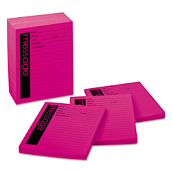 Post-it® Super Sticky Message Pad, 3-7/8 x 4-7/8, Lined, Pink, 12 50-Sheets Pads/Pack