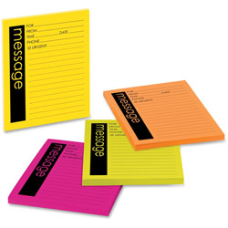 Post-it® Self-Stick Message Pads, 3-7/8x4-7/8, 50 Sheets/Pad, 4 Neon Pads/Pack